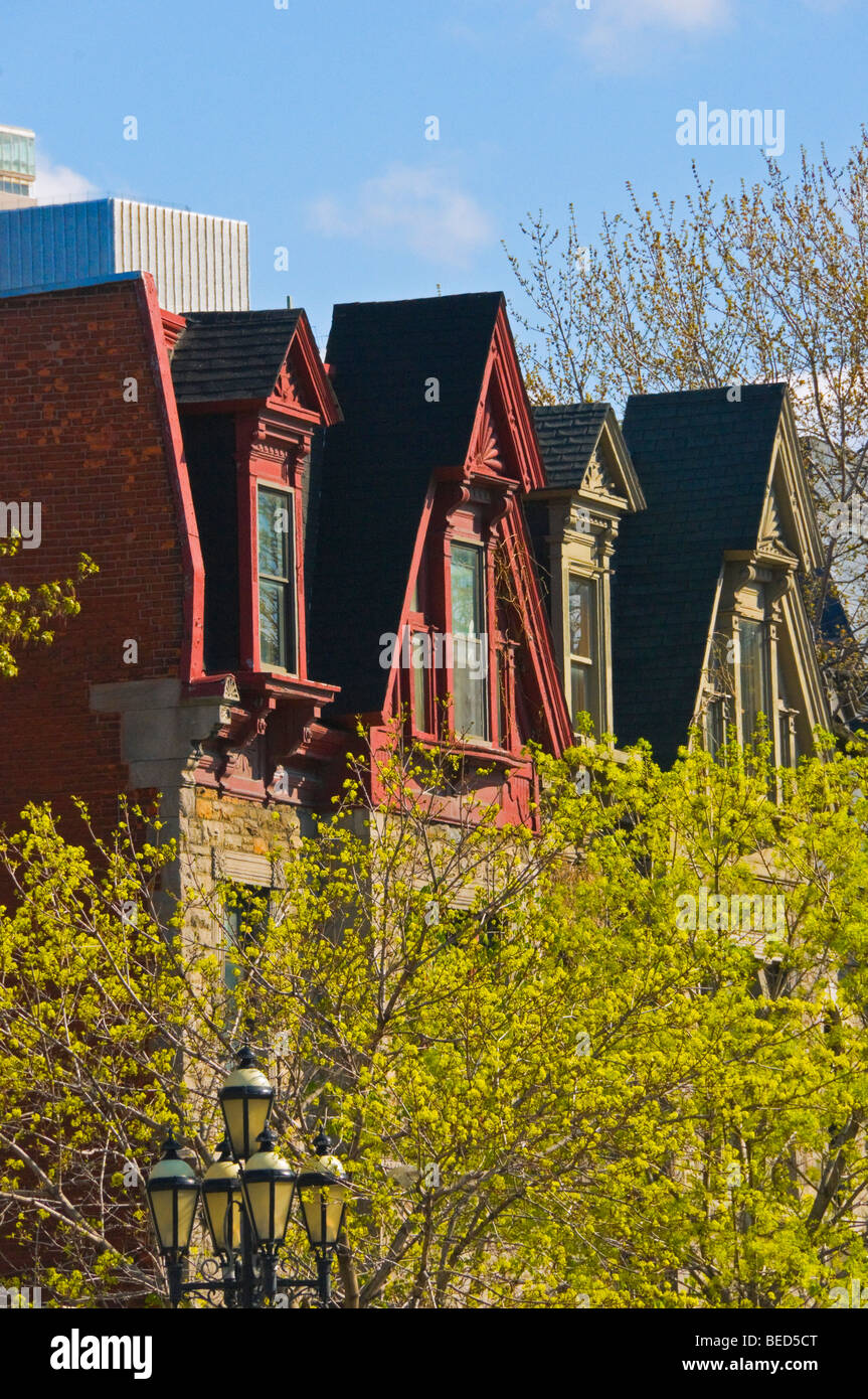 Rooftops on Sherbrooke street Montreal - Stock Image