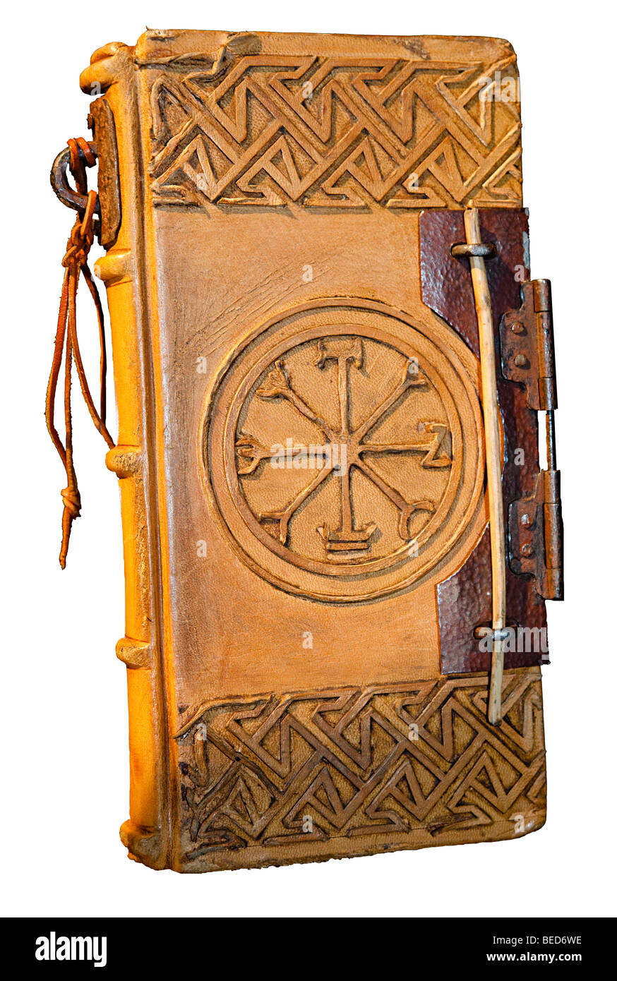 Book of Spells  movie prop used in the film Willow exhibited at the NASA Space Center Houston Texas USA - Stock Image
