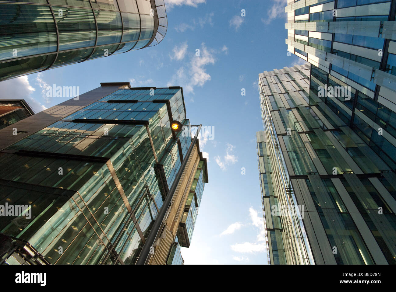 Manchester, UK: The finance district in the centre of the city. - Stock Image