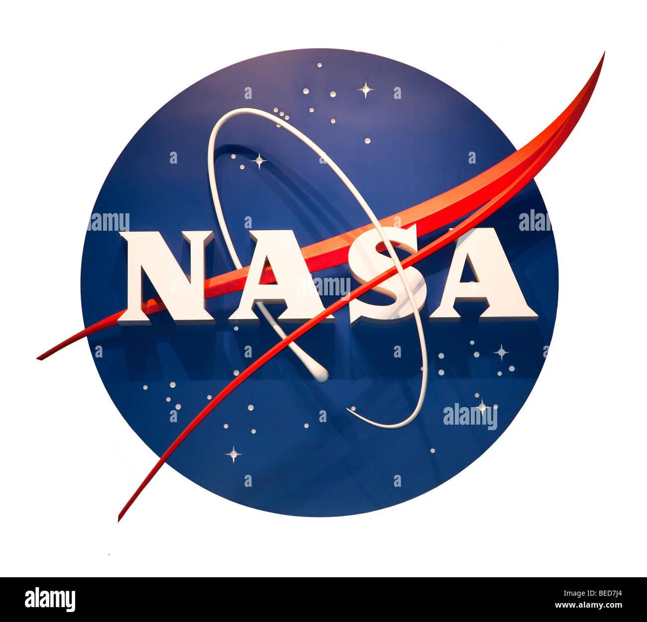 NASA logo at NASA Space Center Houston Texas USA - Stock Image