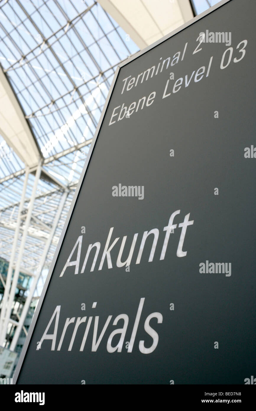 Sign, arrivals at Terminal 2 in Munich Airport, Franz-Josef-Strauss Airport, Munich, Bavaria, Germany, Europe - Stock Image