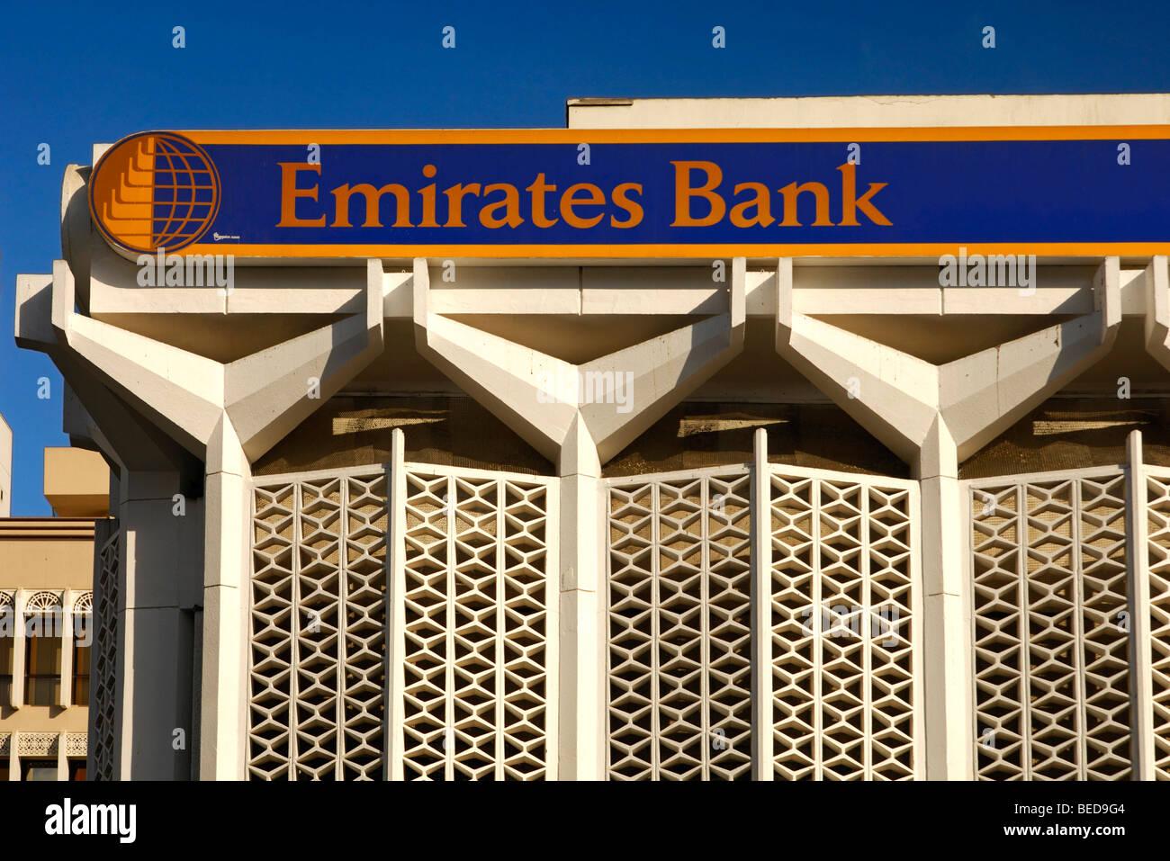 Emirates Bank branch in Bur Dubai, Dubai, United Arab Emirates - Stock Image