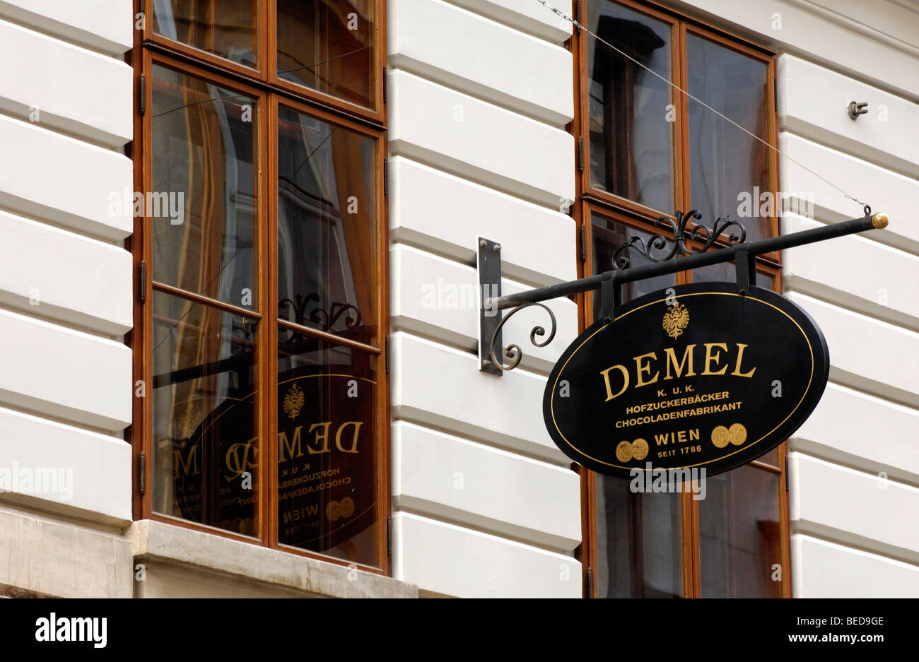 Business sign, K.u.K. Hofzuckerbaecker and Chocoladenfabrikant Demel, Imperial and Royal Court Confectionary Bakery - Stock Image