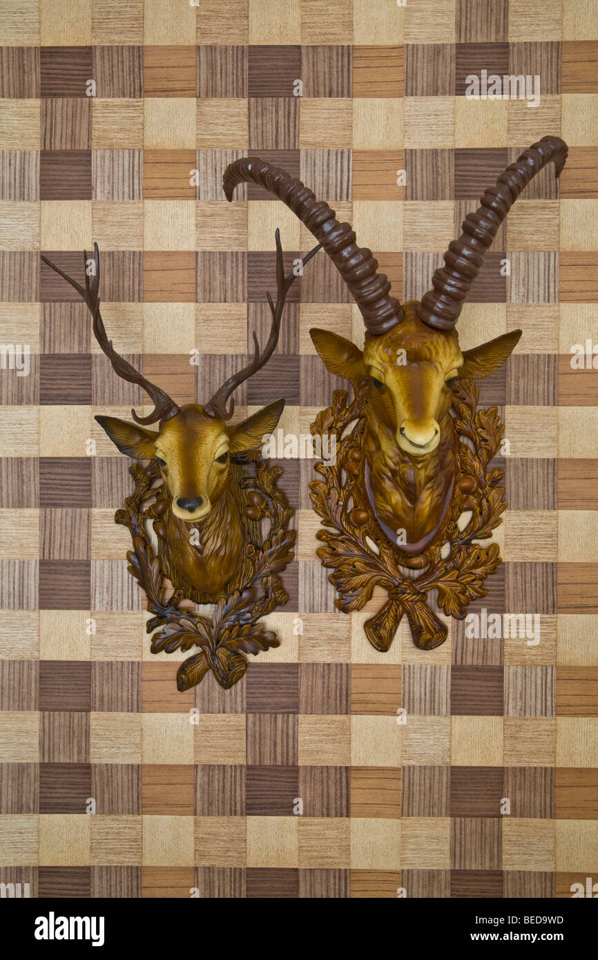 Plastic heads of an ibex and a deer mounted on imitation wood wallpaper, frontal view - Stock Image