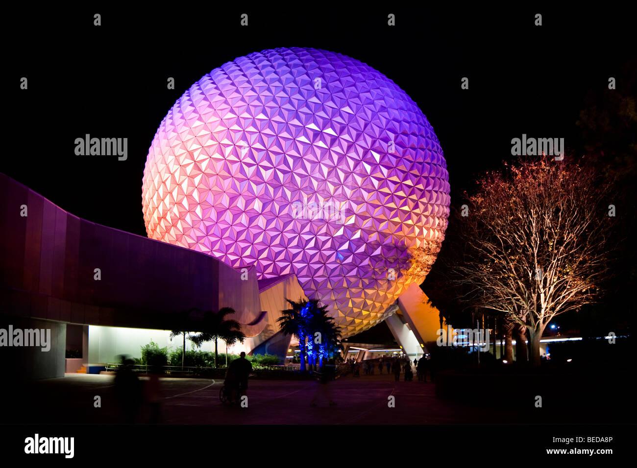 Spaceship Earth's geodesic sphere at night at Walt Disney World, Florida, USA - Stock Image