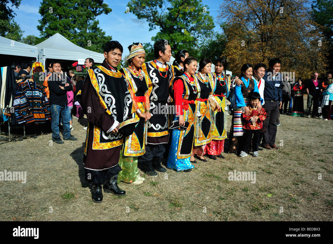 Paris, France - Group Portrait, Tibetans Dressed in Traditional Costumes at Tibetian Festival, - Stock Image