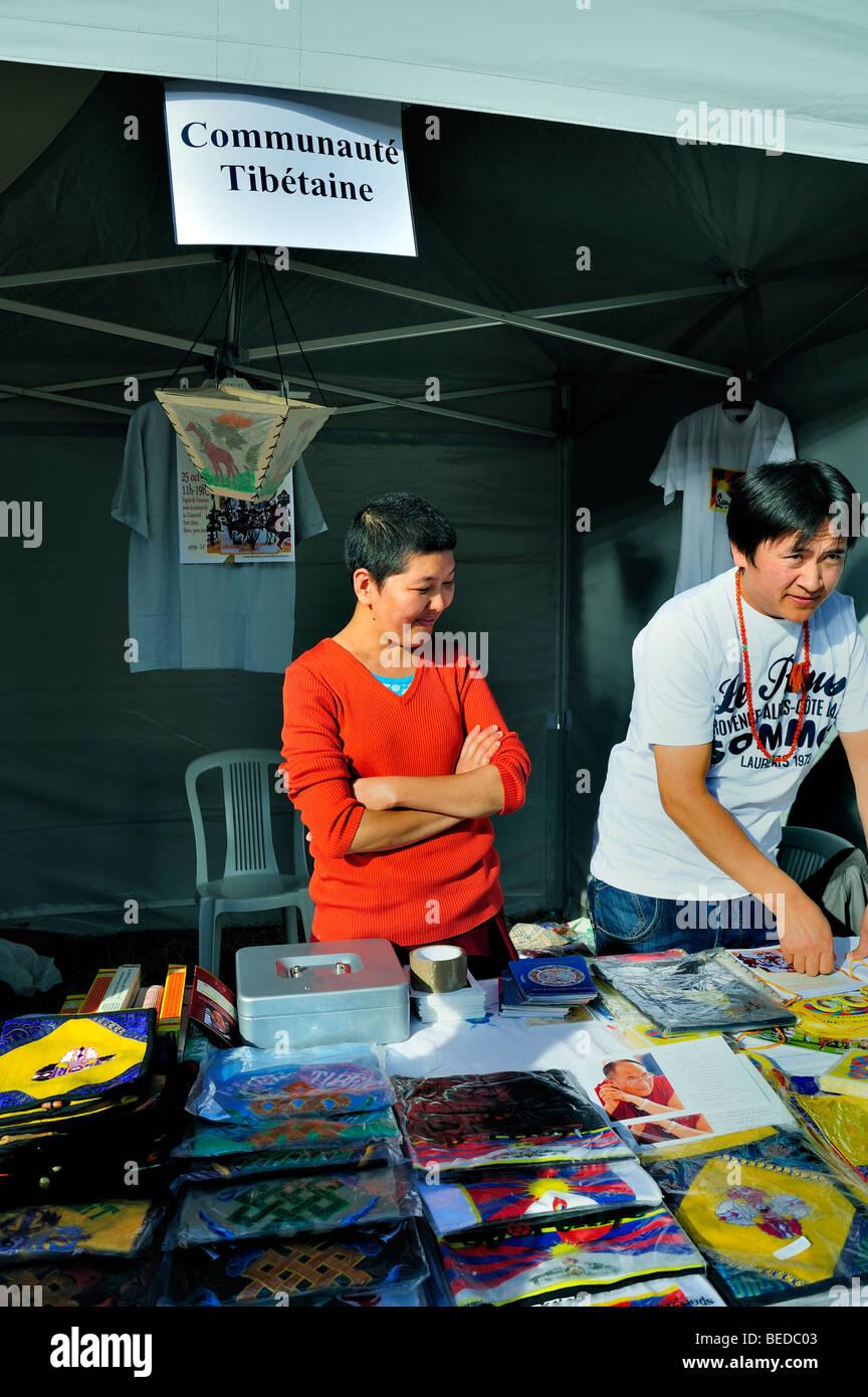 Paris, France - Tibetans Selling Tibetan made products at Exhibit of Tibet Community, in 'Parc de Vincennes', - Stock Image