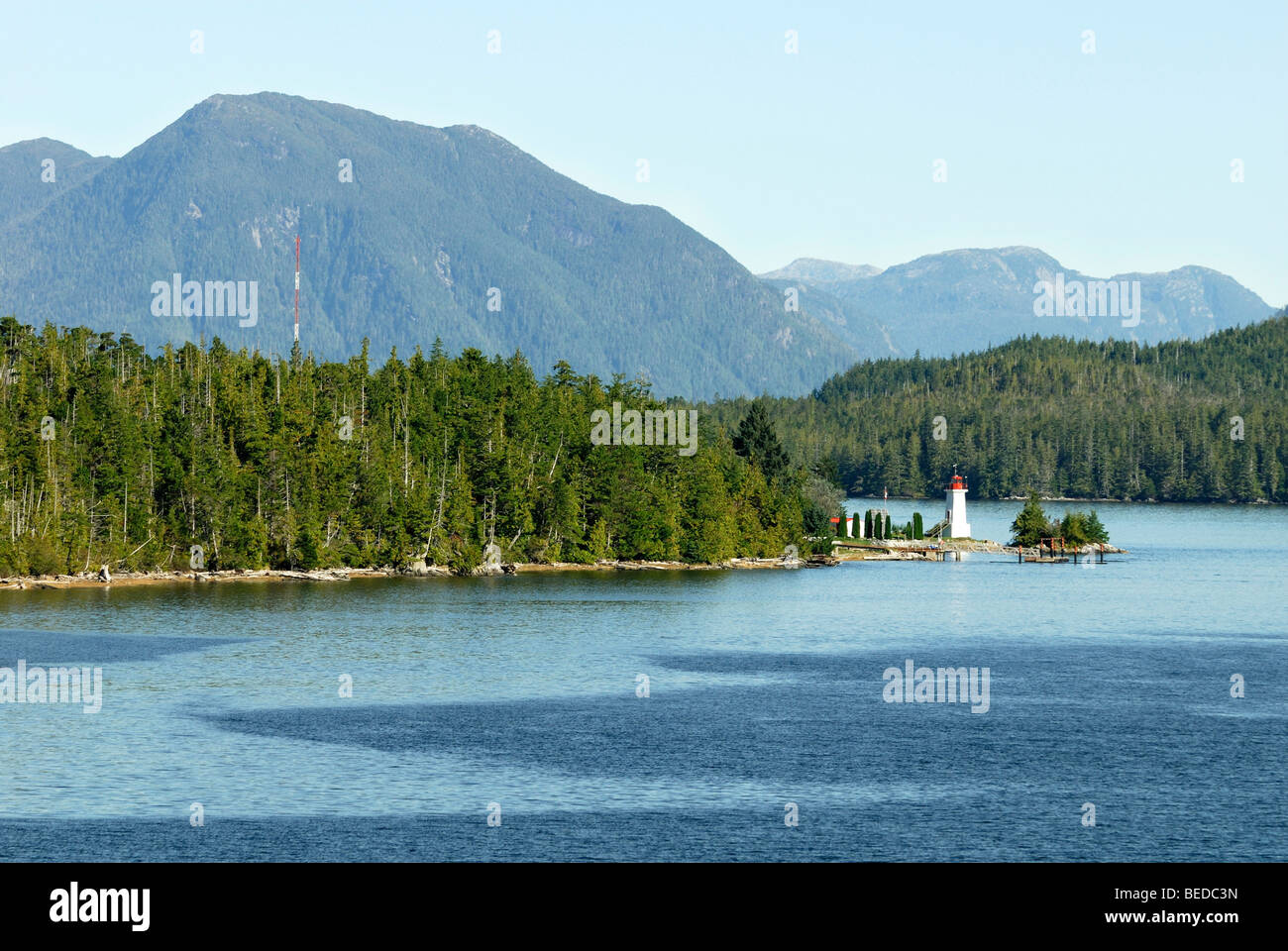Lighthouse on a peninsula on the Inside Passage, British Columbia, Canada, North America - Stock Image