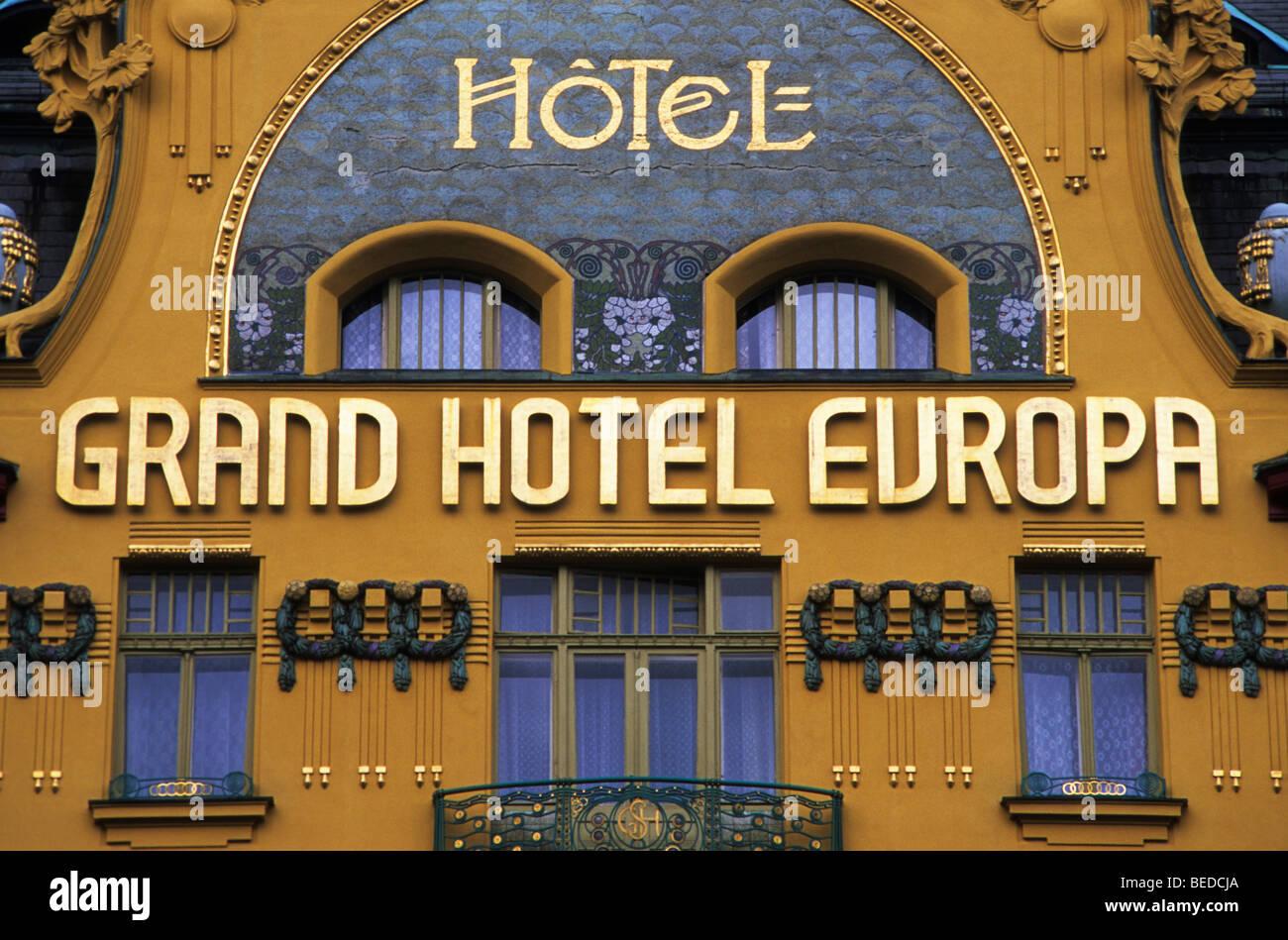 Art nouveau facade of the Grand Hotel Europa, Wenceslas Square, Prague, Czechia, Europe - Stock Image