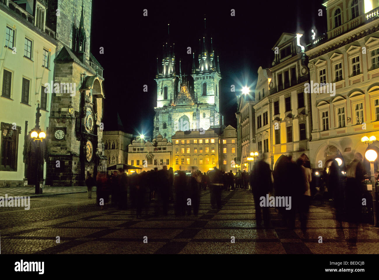 Old Town Square and the Tyn Cathedral, Prague, Czechia, Europe - Stock Image