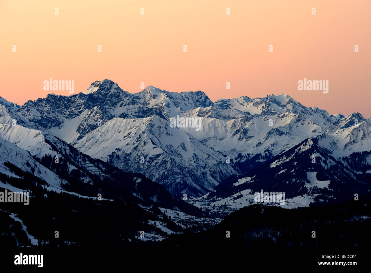 Panoramic view of mountain peaks, at sunset, Allgaeu Alps, Tyrol, Austria, Europe - Stock Image