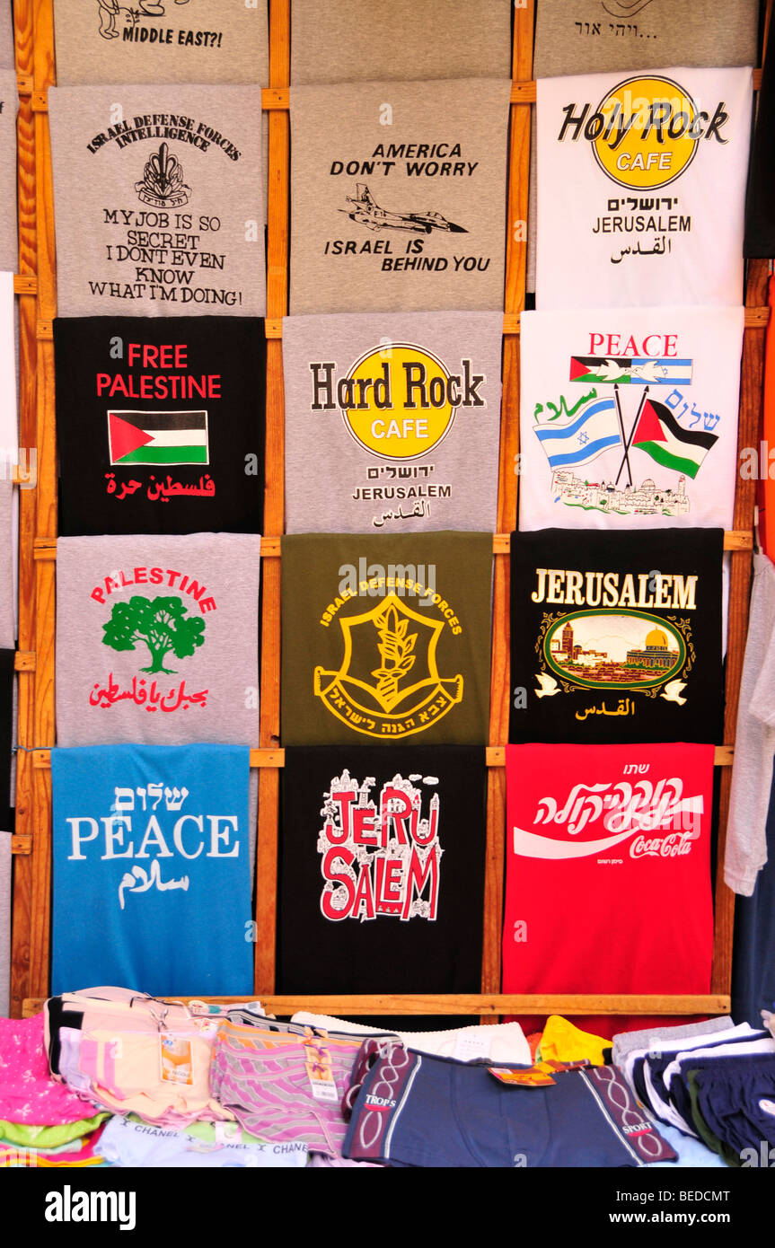 Printed T-shirts, Free Palestine, in a shop on the Suq, market, in the Muslim quarter, Jerusalem, Israel, the Near - Stock Image