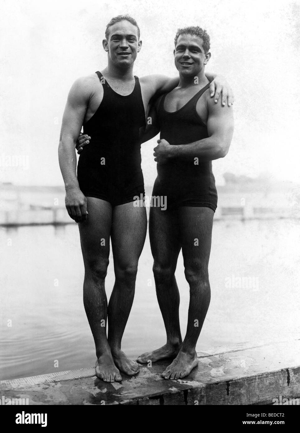 Historic photograph, aquatic athletes, around 1932 - Stock Image