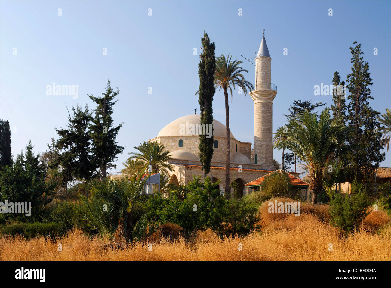 Hala Sultan Tekke Mosque, fourth most important islamic pilgrimage site, Larnaca, Cyprus, Asia - Stock Image
