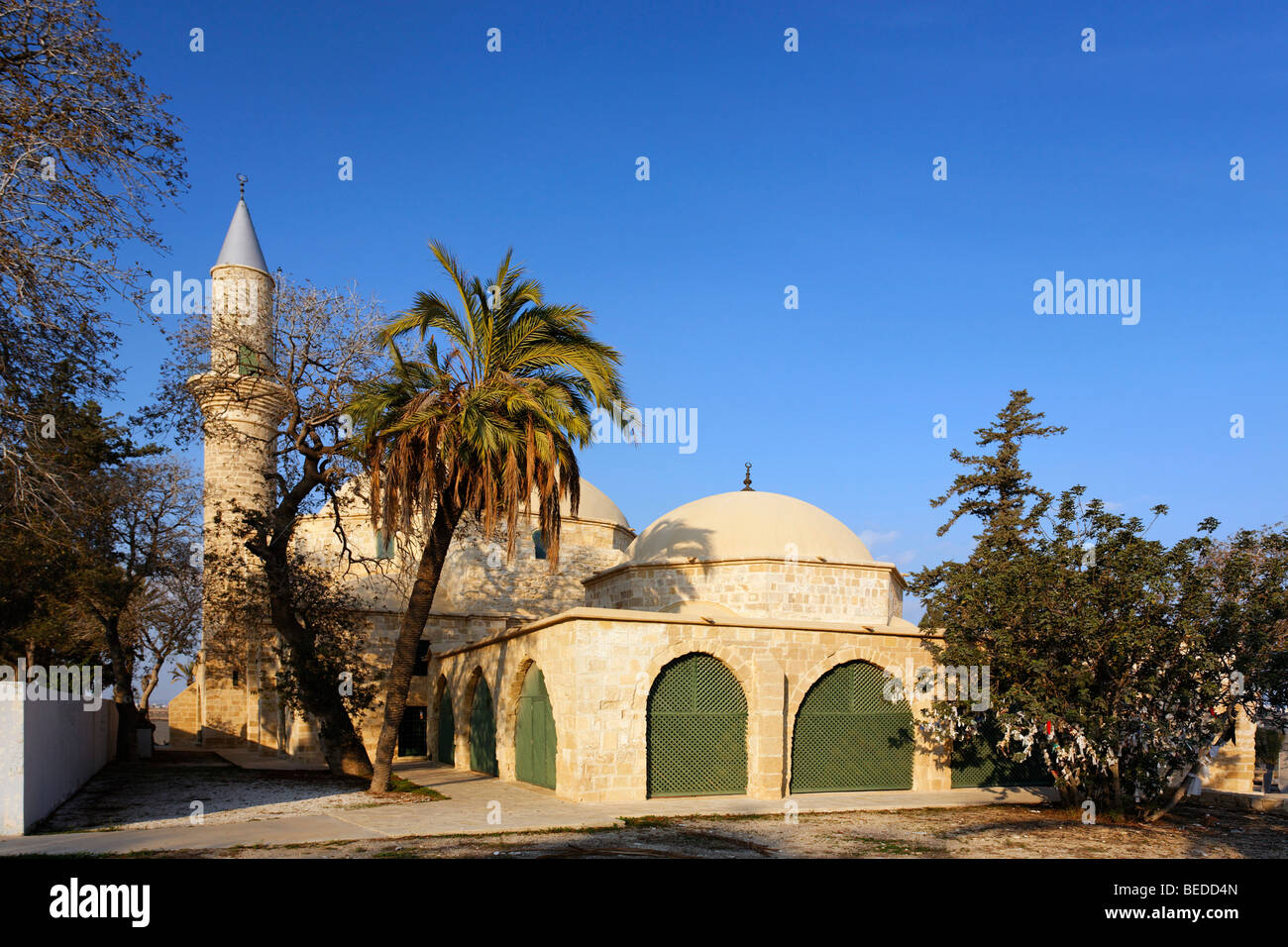 Hala Sultan Tekke Mosque, fourth most important islamic pilgrimage site, Larnaca, Cyprus, Asia Stock Photo