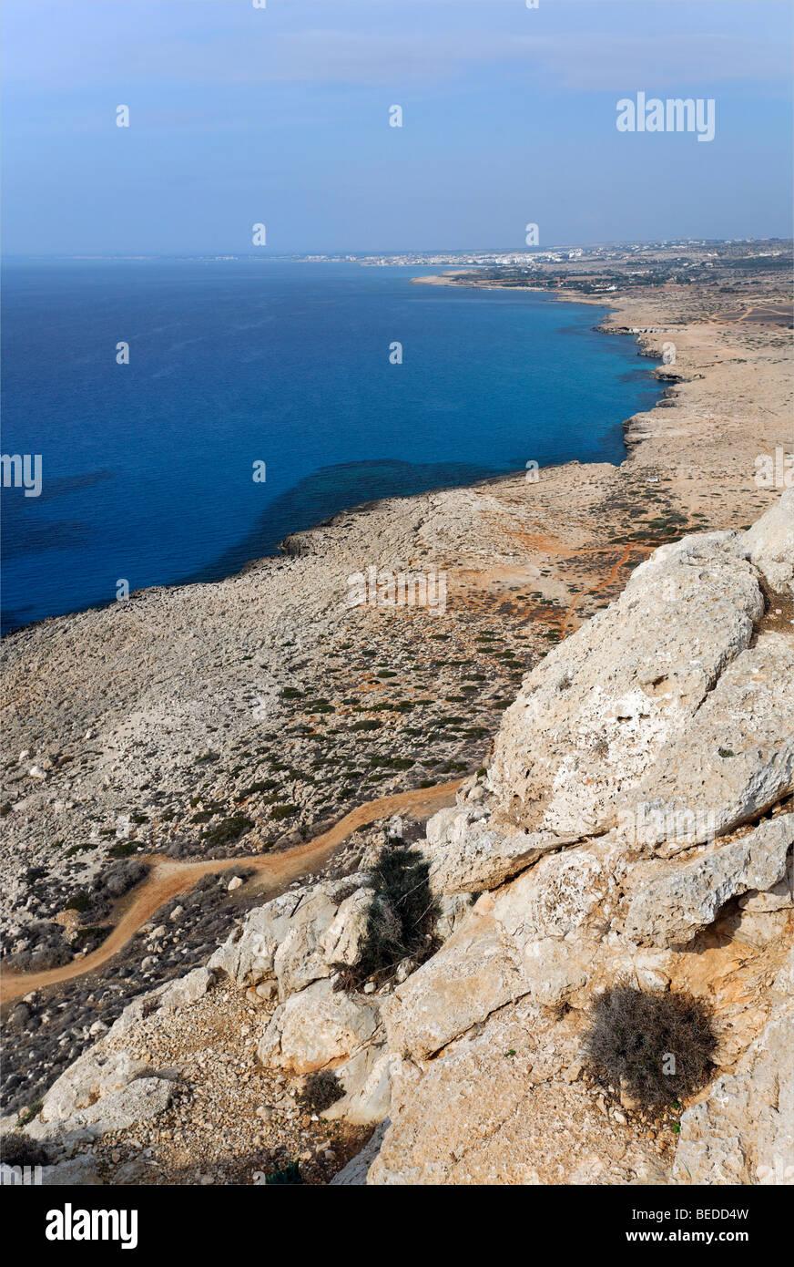 Cape Gkreko Peninsula, view of Agia Napa, Larnaca, Cyprus, Mediterranian Sea, Asia - Stock Image
