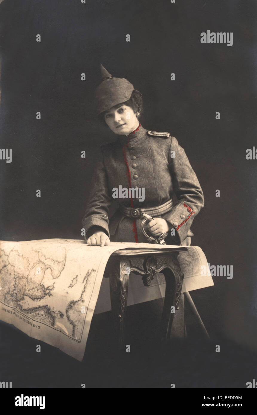 Historic photograph, Miss Lieutenant Soldier, around 1916 - Stock Image