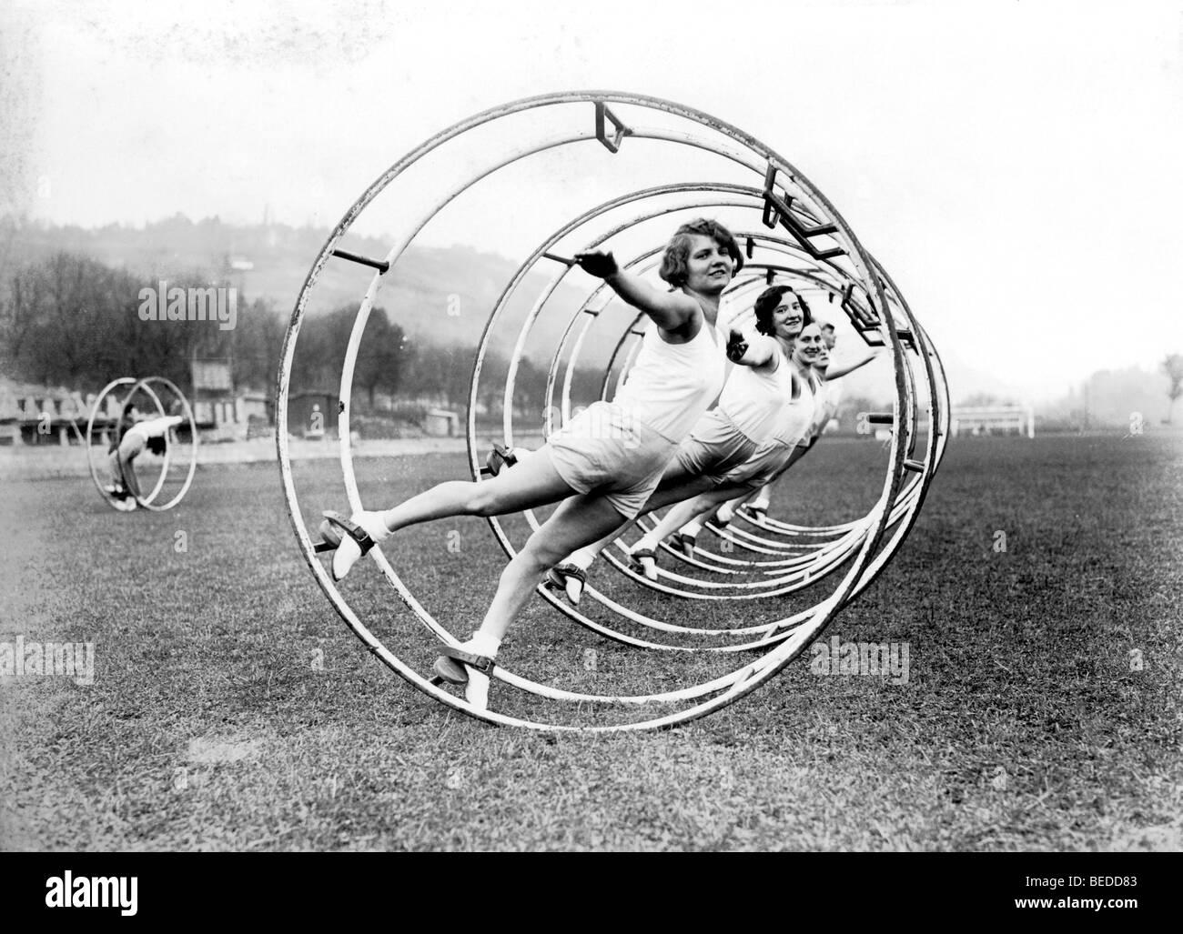 Historic photograph, women doing gymnastics, around 1929 - Stock Image