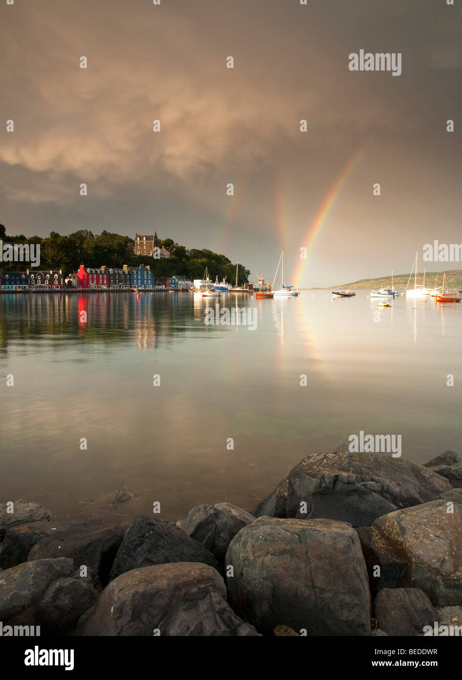 Rainbows over Portree harbour, The Isle of Skye, The Western Isles, Scotland, UK, Europe - Stock Image