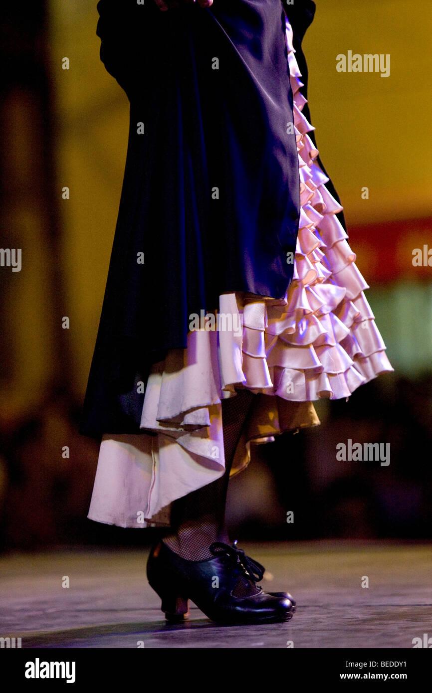 Melisa Calero, flamenco dancer, open air performance on Plaza el Pumarejo Square, Seville, Andalusia, Spain - Stock Image