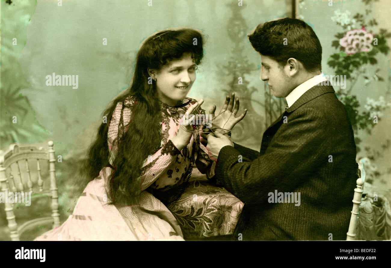 Historic photograph, flirt, around 1915 - Stock Image