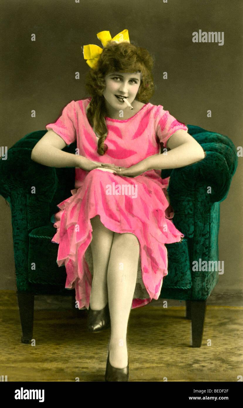 Historic photograph, woman smoking, around 1915 - Stock Image