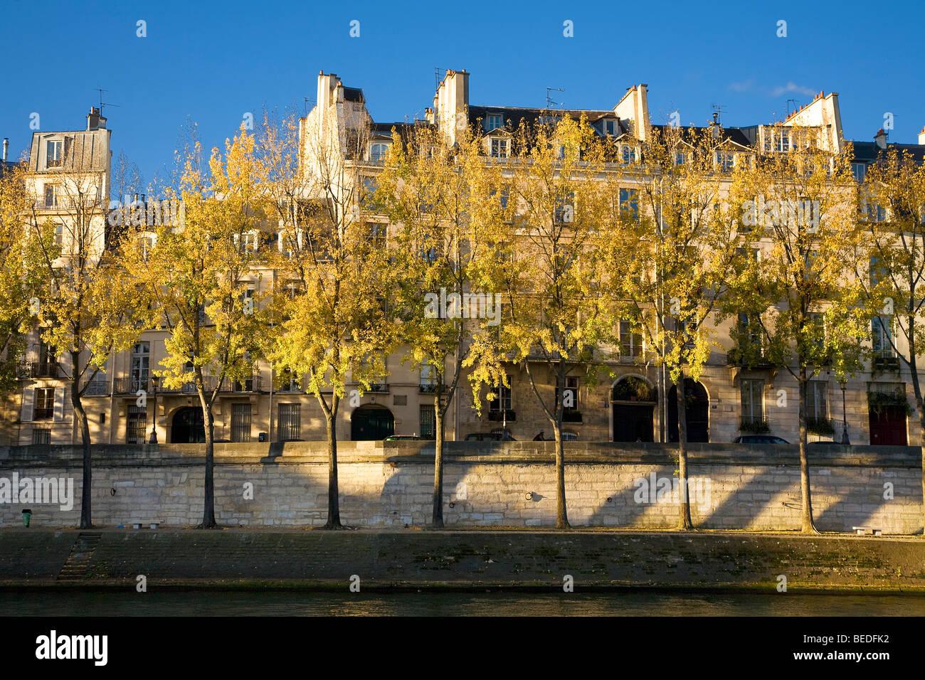 QUAY SIDE, ILE DE LA CITE, PARIS - Stock Image