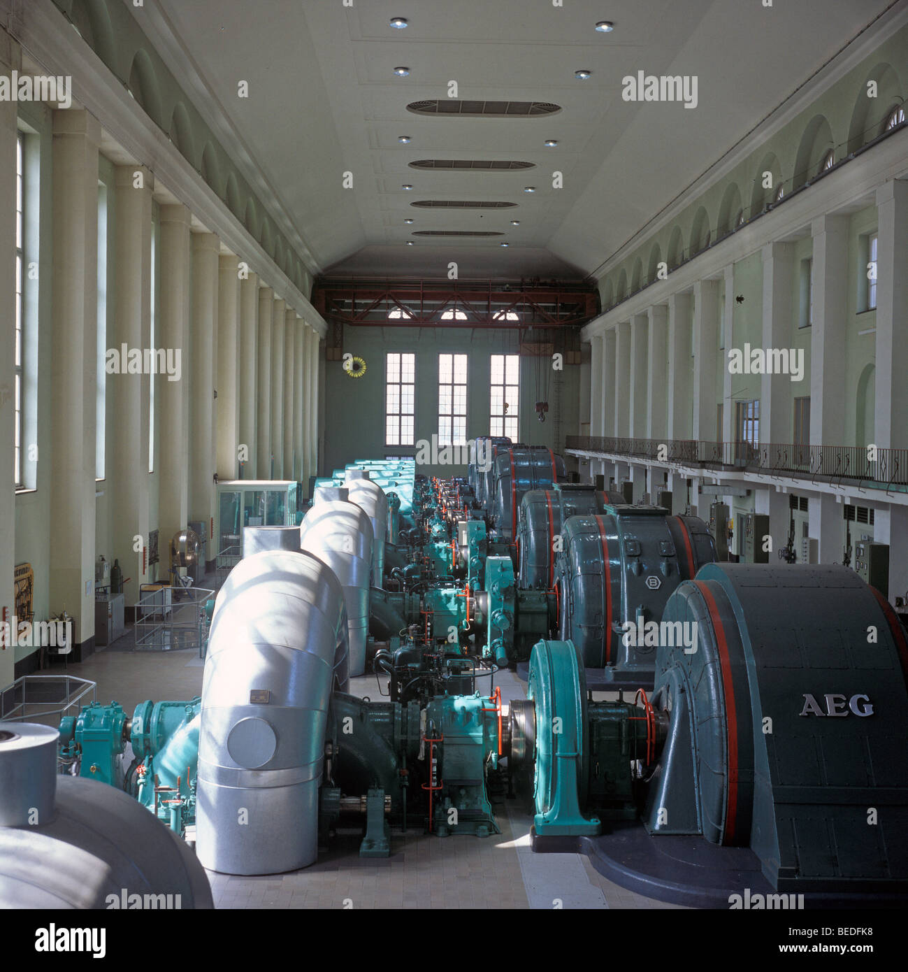 Walchensee power plant, interior with turbines, Kochel, Upper Bavaria, Germany, Europe - Stock Image