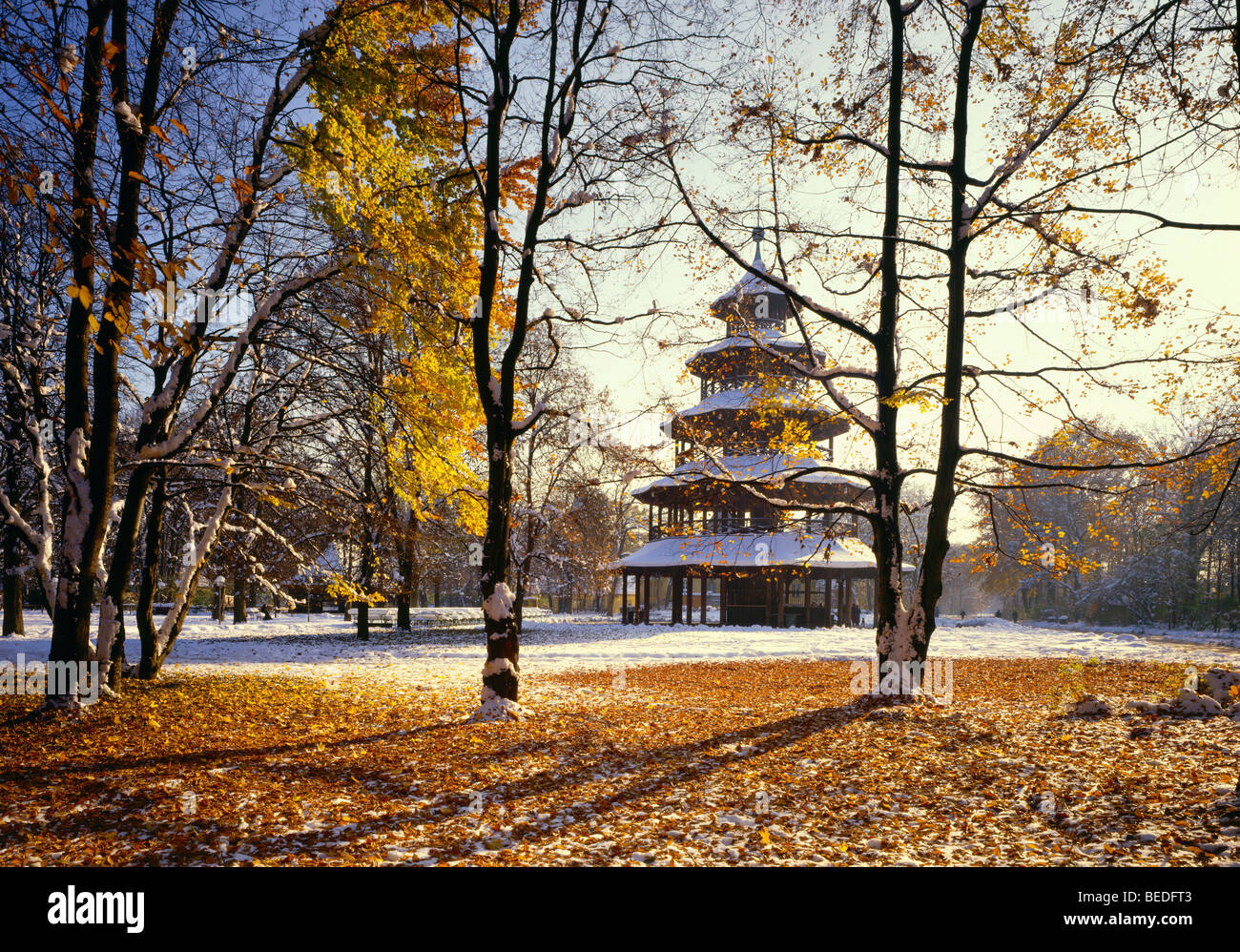 Chinese tower, English Gardens, Munich, Bavaria, Germany, Europe - Stock Image