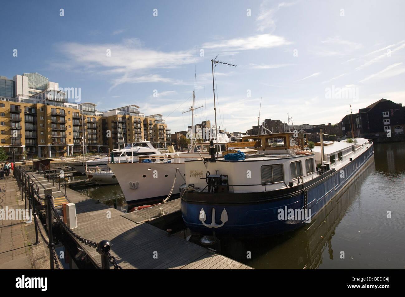 St Katharine's Dock Marina London GB UK - Stock Image