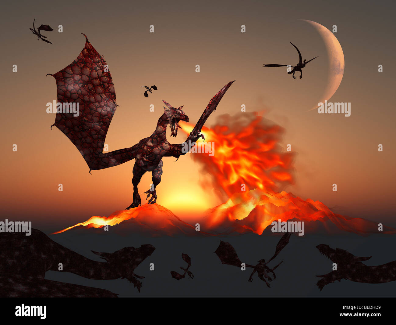 Fire Mountains ,  Produced By A Fire Breathing Dragon. - Stock Image
