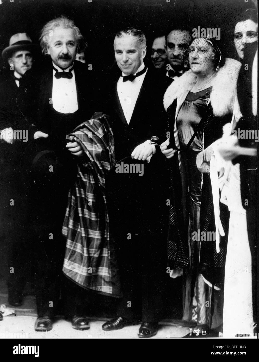 Professor Albert Einstein with his wife Elsa and Charlie Chaplin - Stock Image