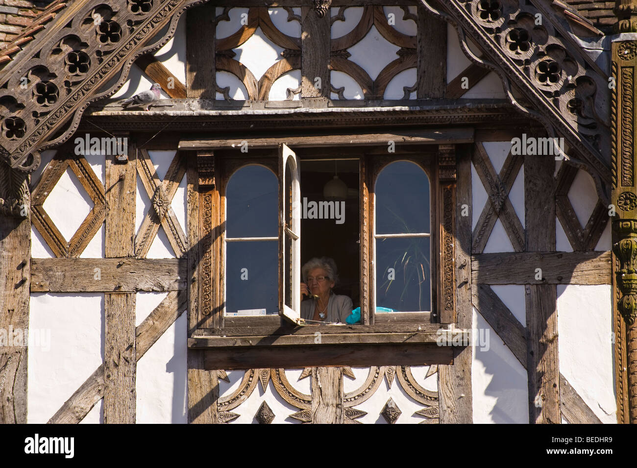 Elderly woman looking out of window of timber framed house Ludlow Shropshire England UK - Stock Image