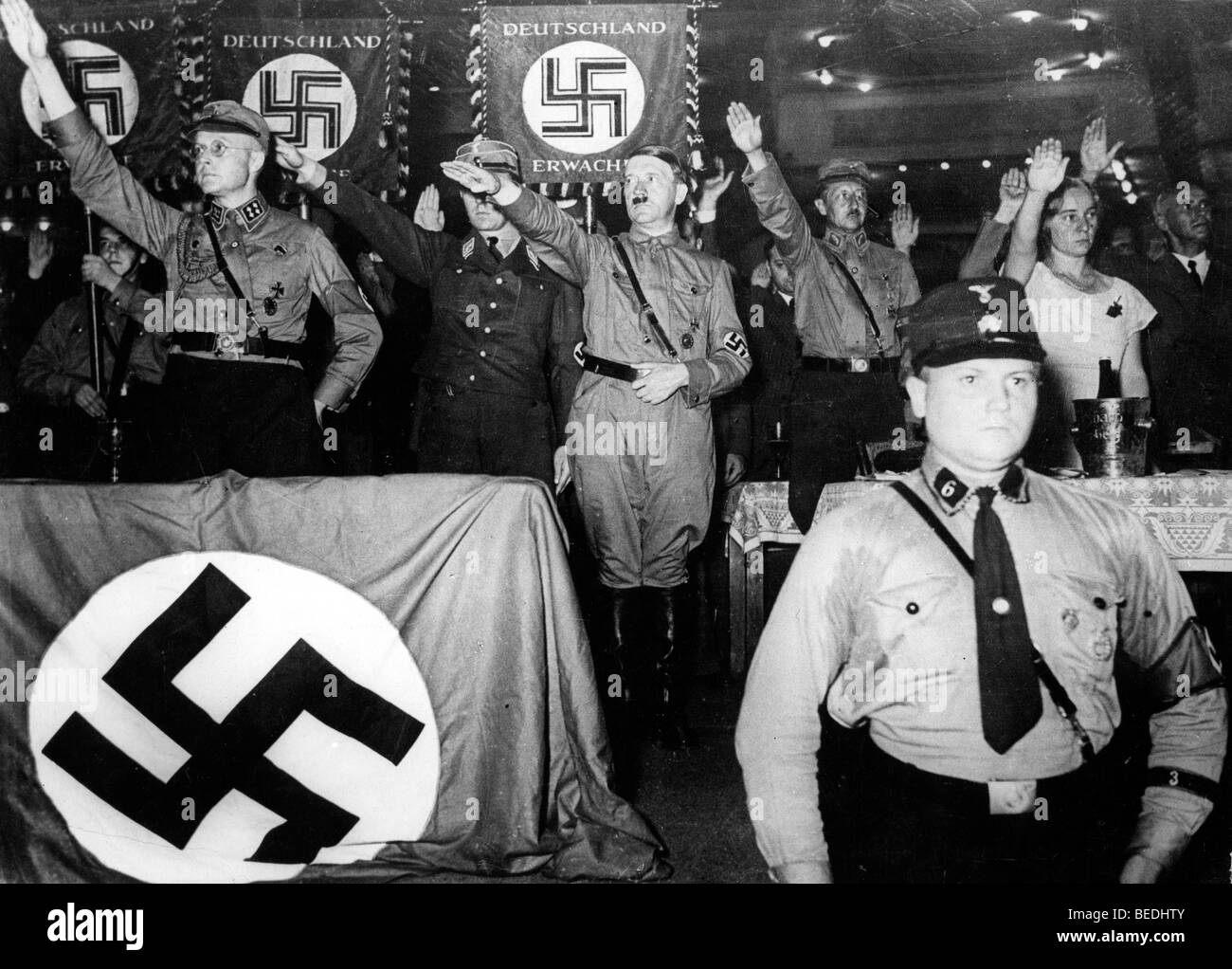 Adolf Hitler saluting at the sports Palace in Berlin - Stock Image