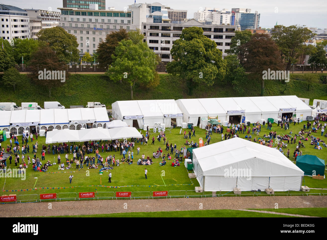 View over The Great British Cheese Festival site in grounds of Cardiff Castle South Wales UK - Stock Image