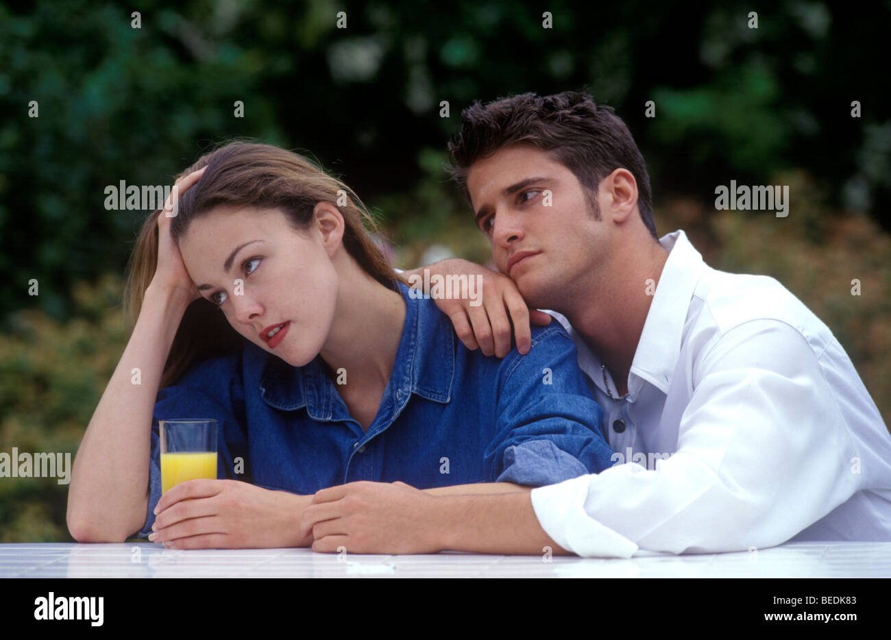 Woman fed up of partner - Stock Image