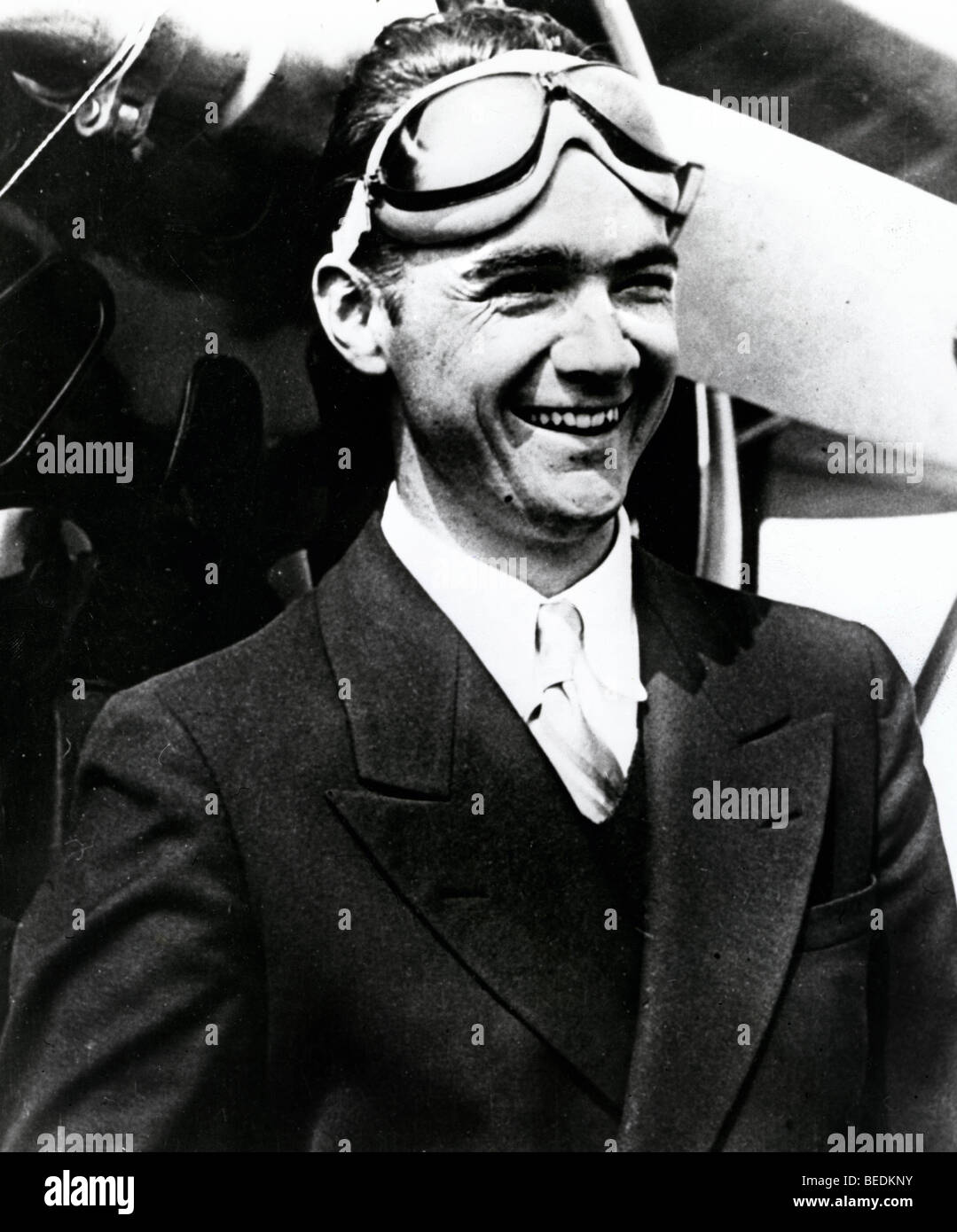 Billionaire Howard Hughes after flying his plane - Stock Image