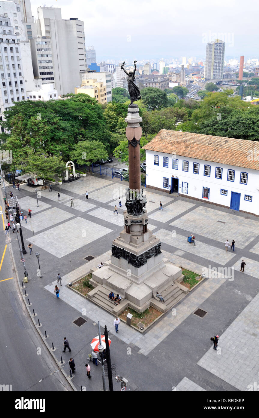 Monument for the foundation of Sao Paulo 'Gloria Imortal Aos Fundadores de São Paulo', Pateo do Colegio, - Stock Image