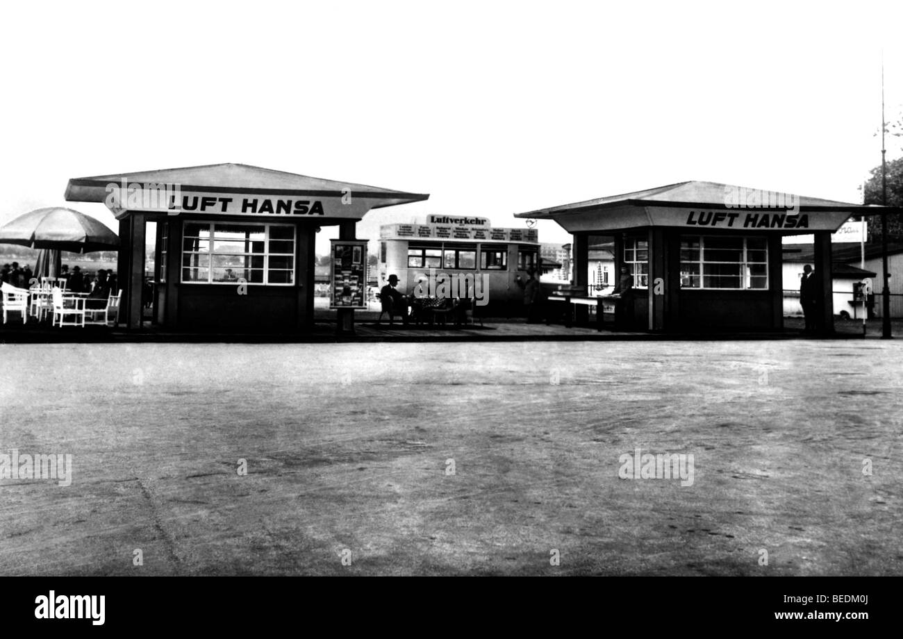 Historic photograph, airport with Lufthansa advertisment, twenties - Stock Image