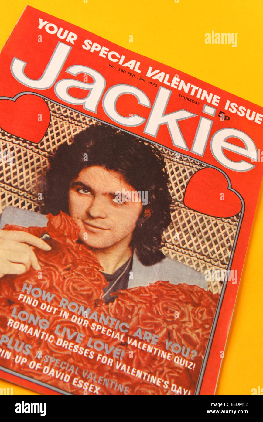 Jackie magazine comic for teenage girls popular in the 1970s this edition published February 1975 features pop star - Stock Image