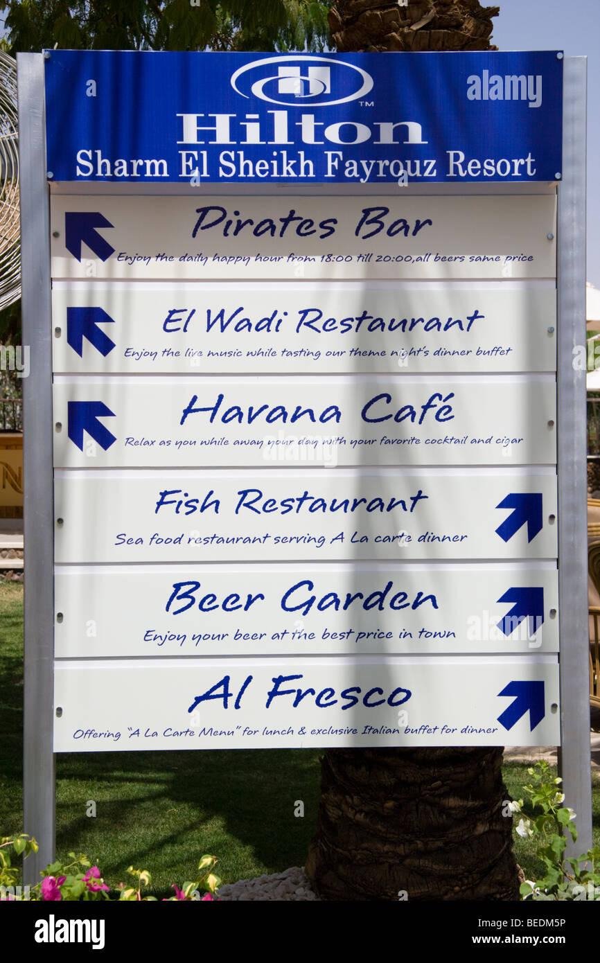 Sign for the Hilton Fayrouz Resort, Naama Bay, Sharm el Sheikh, Red Sea, Egypt - Stock Image