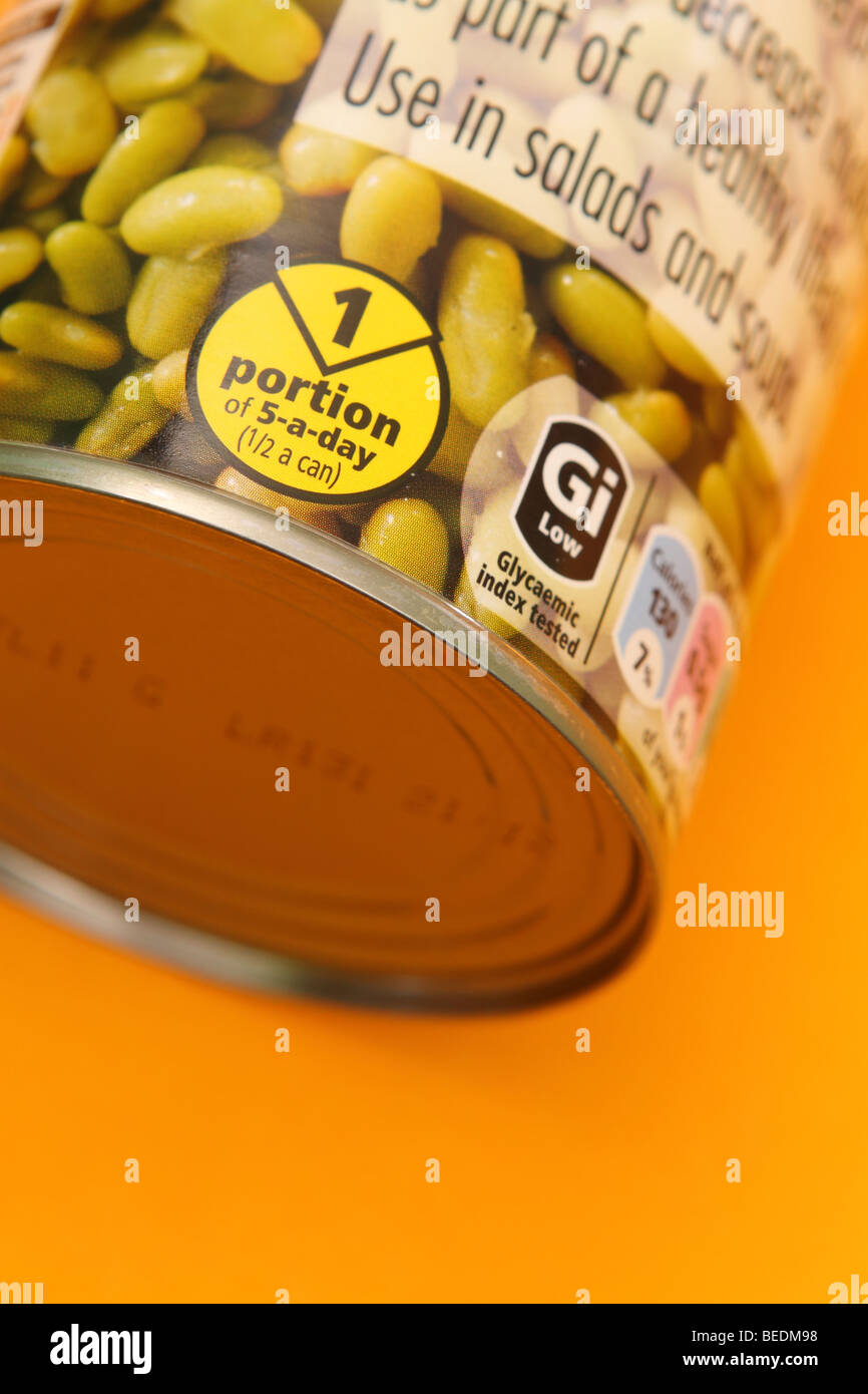 A tin can of Flageolet beans healthy fibre food and part of the 5 a day healthy eating guide - Stock Image