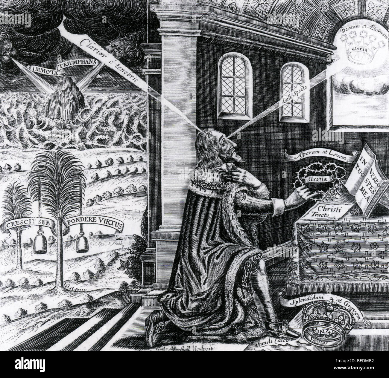 KING CHARLES I as a martyr in a 1649 woodcut - see Description below - Stock Image