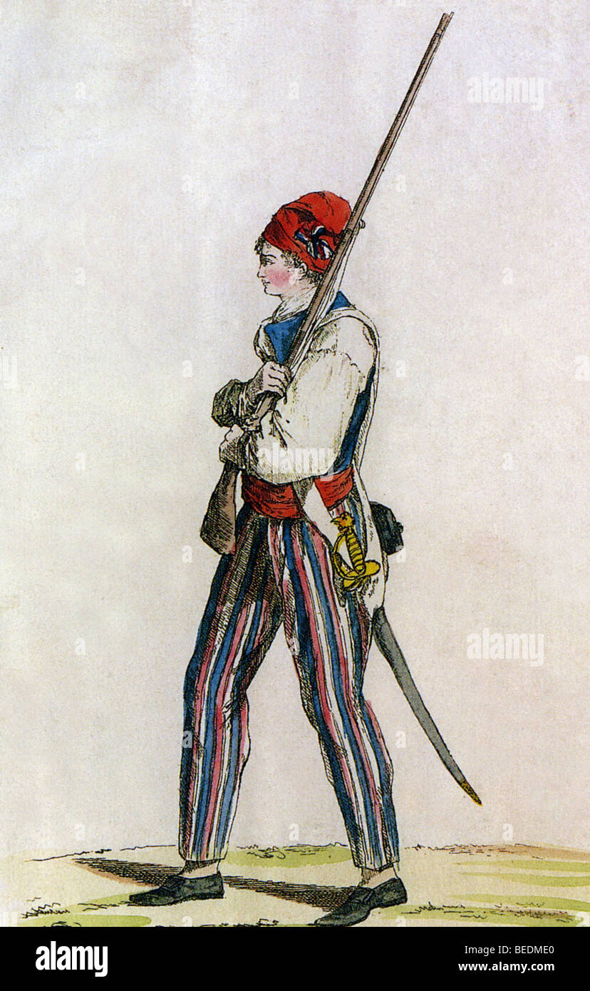 FRENCH REVOLUTION  print of a sans-culotte so called after the long trousers worn as distinct from the breeches - Stock Image
