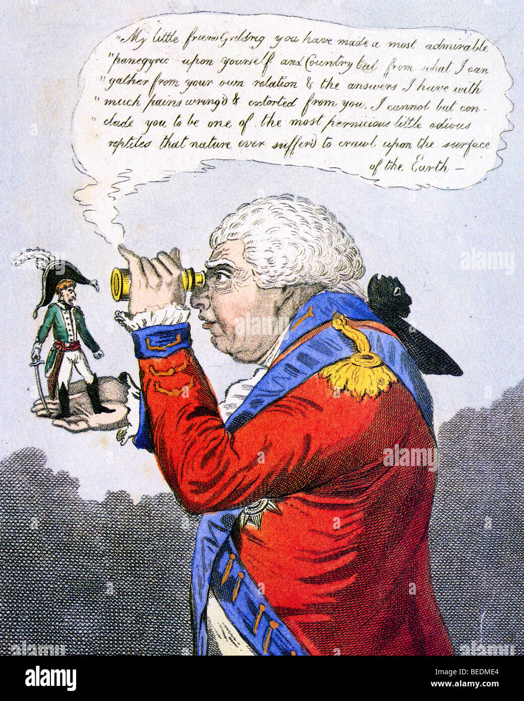 THE KING OF BROBDINGNAG AND GULLIVER - satirical print by Gillray has George III inspecting a dwarf Napoleon in - Stock Image