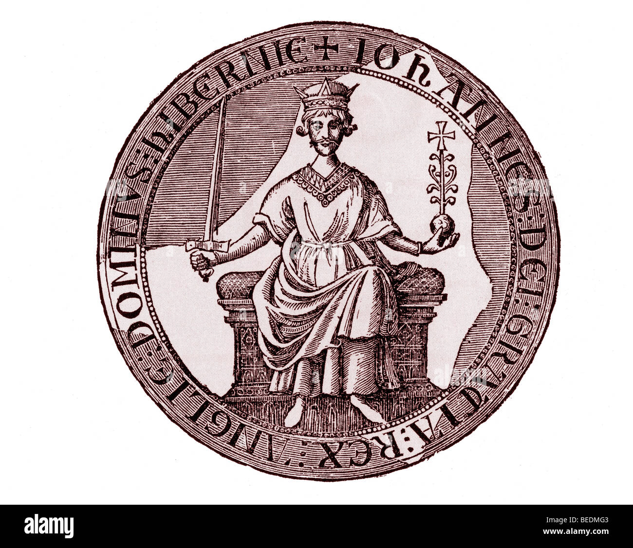 KING JOHN The Royal seal as fixed to the Magna Carta - Stock Image