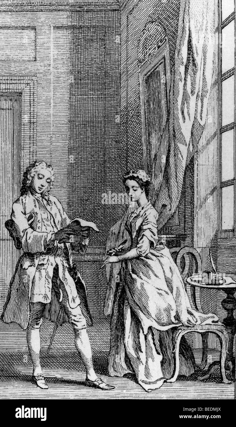 PAMELA  Illustration from1742 edition of the novel by Richardson showing Mr B taking her first letter before she Stock Photo