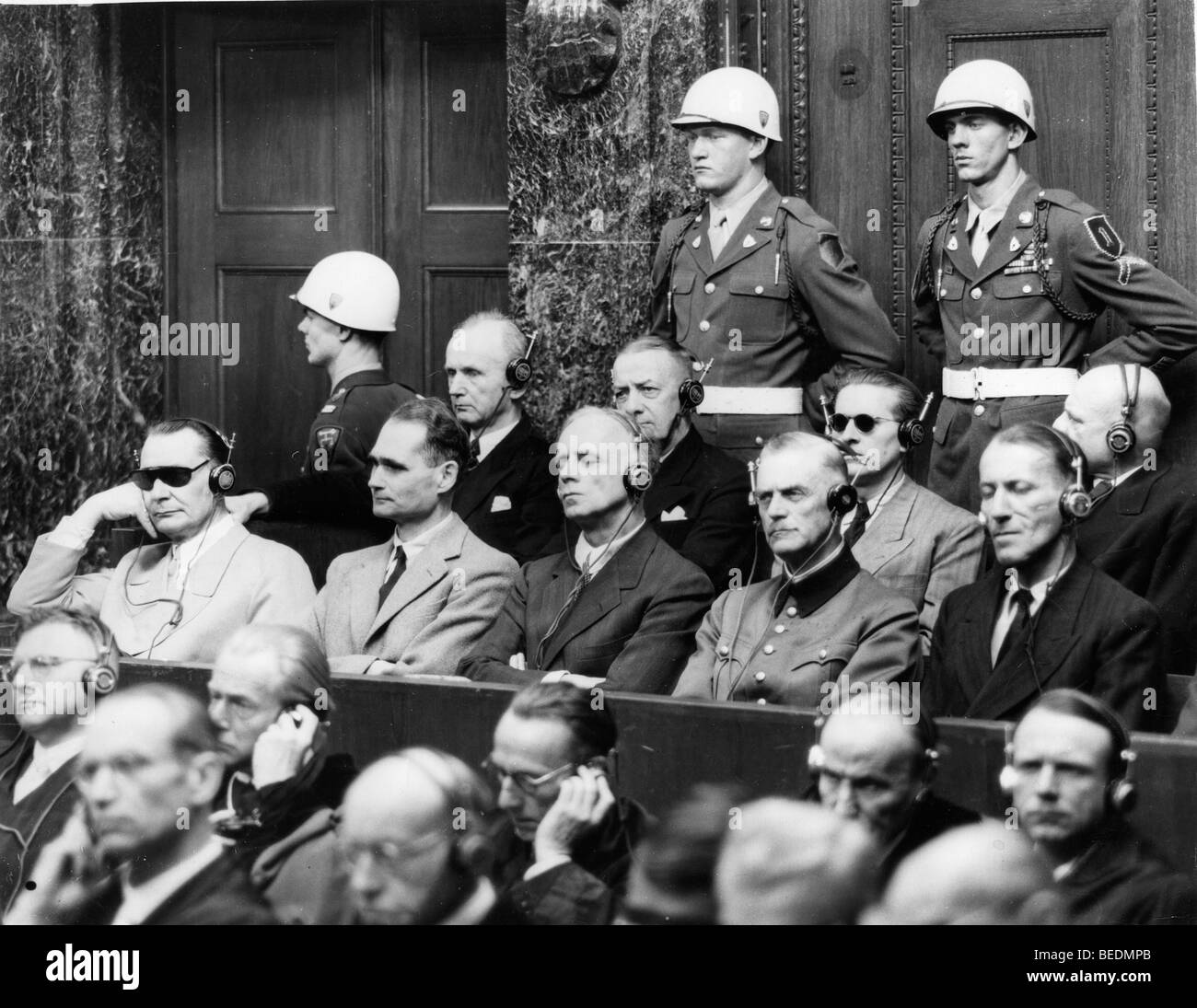 Some of the chief defendants seen seated in the dock at Nuremberg during the greatest war trial in history Stock Photo
