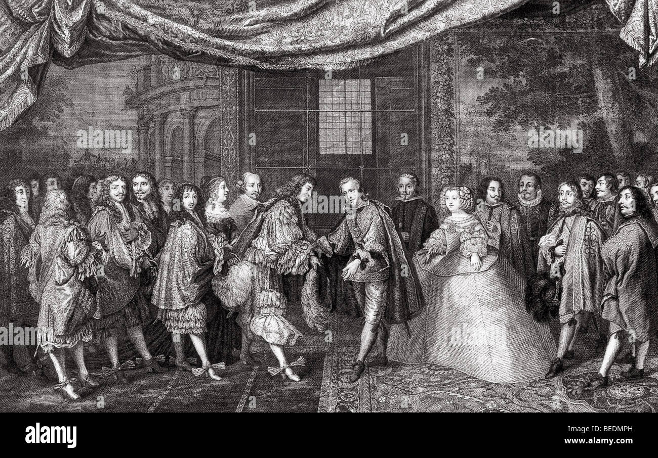 PEACE OF THE PYRENEES 1659 - Louis XIV of France (centre left) meets Philip  IV of Spain to ratify the treaty