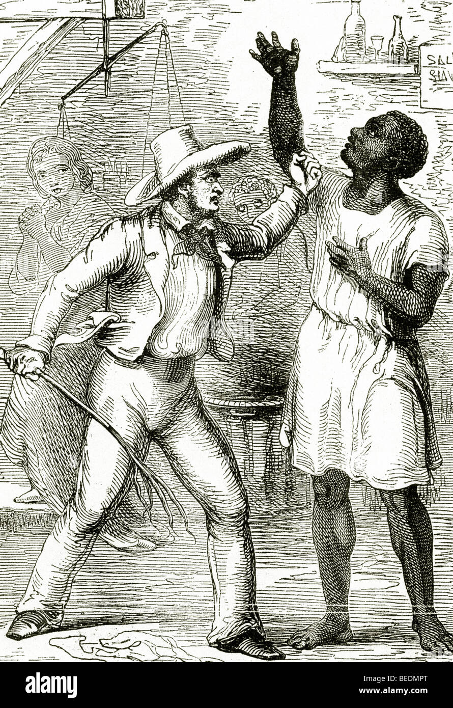 UNCLE TOM'S CABIN A slave owner attacks the book's hero in this illustration from the first 1852 edition - Stock Image